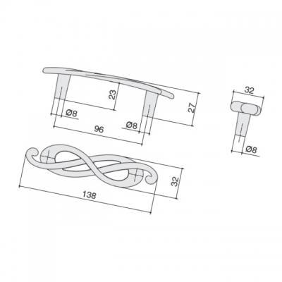Ручка-скоба 96мм (левая), отделка серебро лунное EA036Z096S0.69