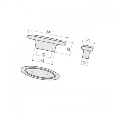Ручка-кнопка 32мм, отделка серебро античное + вставка 10.808.B17N-108