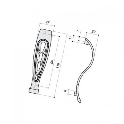 Ручка-скоба 96мм, отделка серебро античное 9.1341.0096.17N