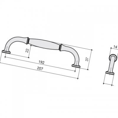 Ручка-скоба 192мм, отделка железо HN-I-3984-192-I