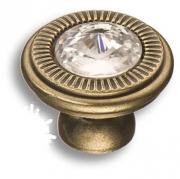 25.319.30.SWA.12 Ручка кнопка с кристаллом Swarovski, античная бронза