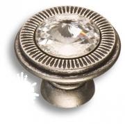25.319.30.SWA.16 Ручка кнопка с кристаллом Swarovski, старое серебро
