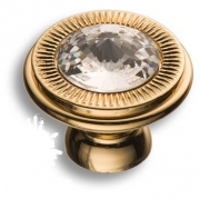 25.319.30.SWA.19 Ручка кнопка с кристаллом Swarovski, глянцевое золото 24K