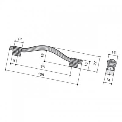 Ручка-скоба 96мм, отделка никель сатиновый 7492/500