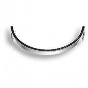 2574-005-160 BLACK Ручка скоба, латунь с чёрными кристаллами Swarovski, глянцевый хром 160 мм