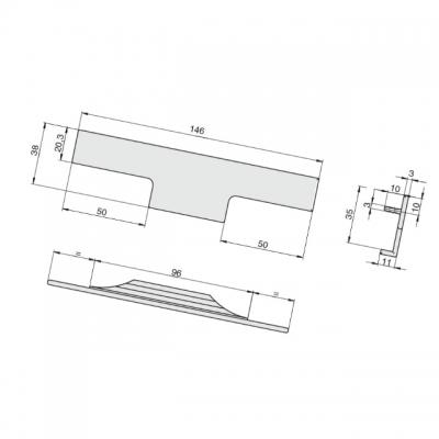 Ручка врезная 146мм, отделка сталь шлифованная 408020146-66.1