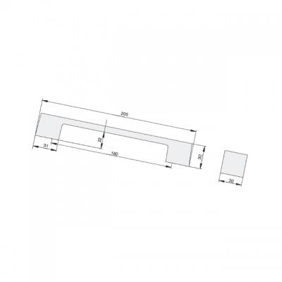 Ручка-скоба 160мм, отделка транспарент + белый a306.TR/BI24