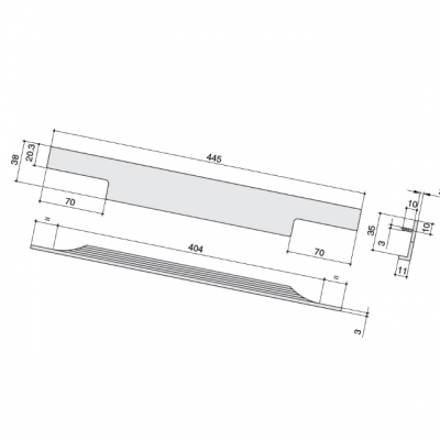 Ручка врезная 445мм, отделка сталь шлифованная 408040445-66