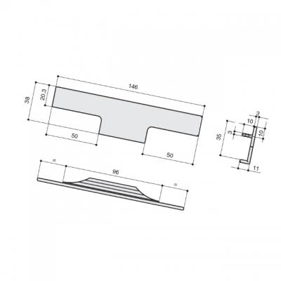 Ручка врезная 146мм, отделка алюминий анодированный 408020146-05.1