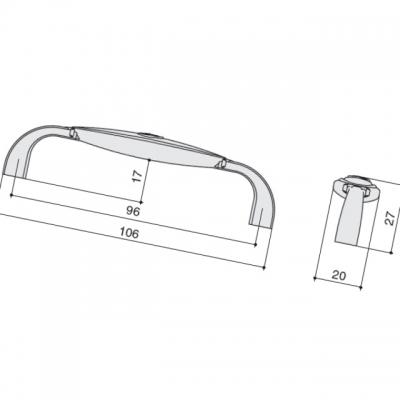 Ручка-скоба 96мм, отделка бронза + вставка 1898-106ZN31A78