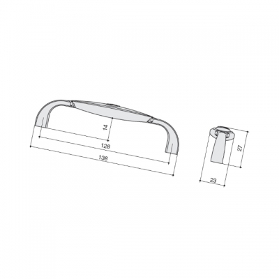 Ручка-скоба 128мм, отделка серебро старое + вставка 1898-138ZN29A4