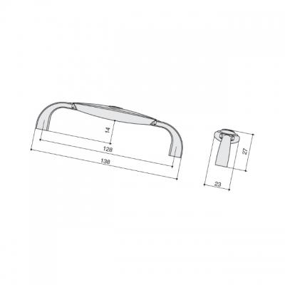 Ручка-скоба 128мм, отделка бронза + вставка 1898-138ZN31A78