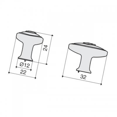 Ручка-кнопка, отделка хром + вставка 1897-32ZN1A4