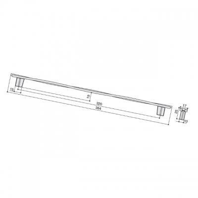 Ручка-скоба 320мм, отделка железо античное черное шлифованное 8.1147.0320.0750
