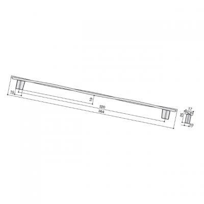 Ручка-скоба 320мм, отделка никель вороненый глянец 8.1147.0320.32