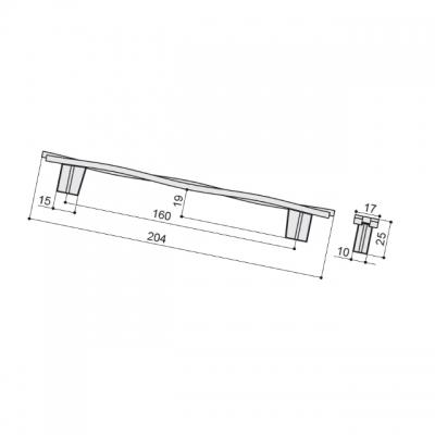 Ручка-скоба 160мм, отделка железо античное черное шлифованное 8.1147.0160.0750