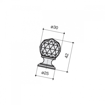 Ручка-кнопка, отделка золото глянец + черное стекло 9992/133