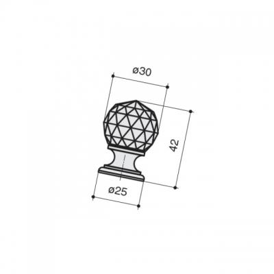 Ручка-кнопка, отделка хром глянец + черное стекло 9992/433