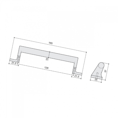 Ручка-скоба 128мм, отделка бронза античная темная 529660128-23