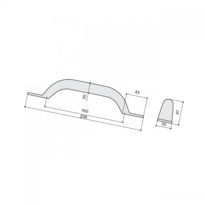 Ручка-скоба 160мм, отделка железо винтаж 217.969-160-6565
