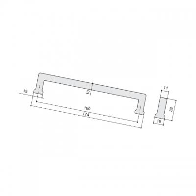Ручка-скоба 160мм, отделка старое серебро 230.001-160-6521