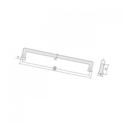 Ручка-скоба 320мм, отделка старое серебро 230.001-320-6521