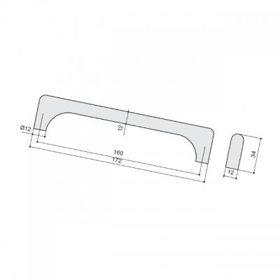 Ручка-скоба 160мм, отделка бронза 230.005-160-6569