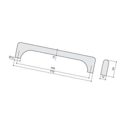 Ручка-скоба 160мм, отделка нержавеющая сталь 230.005-160-9605