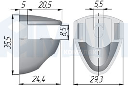 FA27NI PEARL COBRONE Полкодержатель для стеклянных полок толщиной 8-10 мм, никель