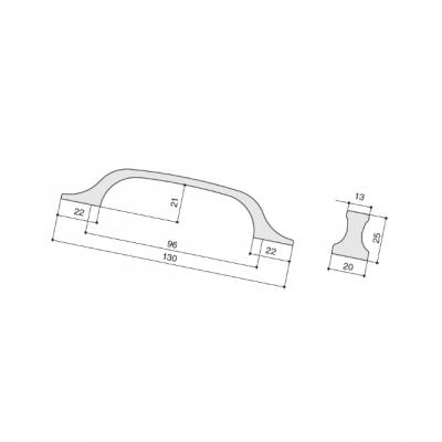 Ручка-скоба 96мм, отделка античное железо a385.VFEAN24