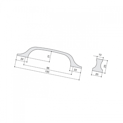 Ручка-скоба 96мм, отделка бронза античная a385.VBRAN24