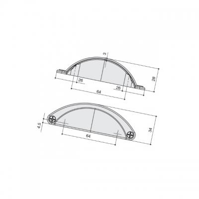 Ручка-скоба 64мм, отделка античное железо a098.AVFEAN24