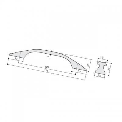 Ручка-скоба 128мм, отделка медь Сиена WMN.742X.128.M00V2