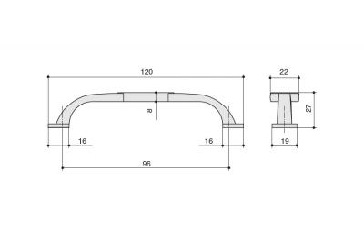 M274.96.COF Ручка-скоба 96мм, отделка кофе