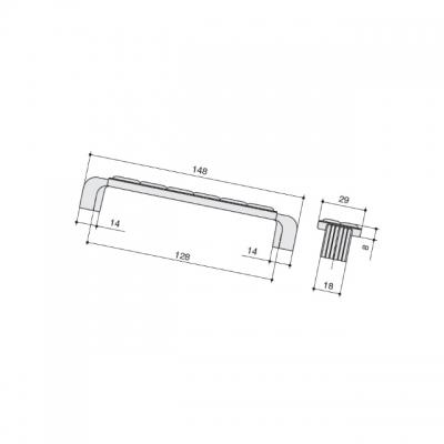 """Ручка-скоба 128мм, отделка бронза """"орваль"""" + керамика JL6108.128.BF"""