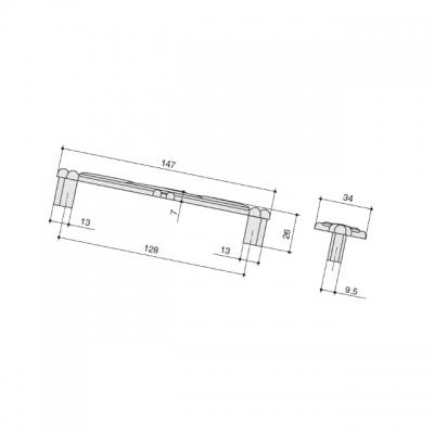 """Ручка-скоба 128мм, отделка бронза """"орваль"""" + керамика JL6109.128.BF"""