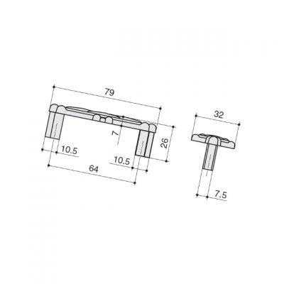 """Ручка-скоба 64мм, отделка бронза """"орваль"""" + керамика JL6109.064.BF"""