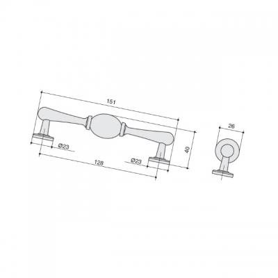 Ручка-скоба 128мм, отделка бронза матовая + керамика JL6116.128.BF-K10