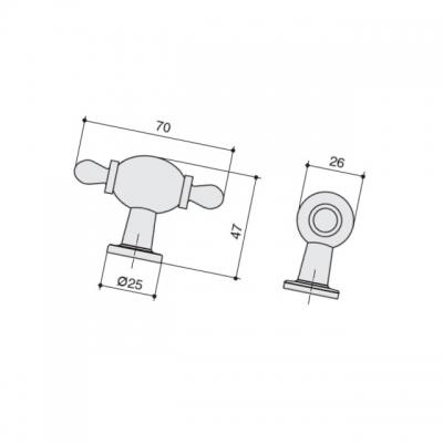 Ручка-кнопка, отделка бронза матовая + керамика JL6116.K.BF-K10