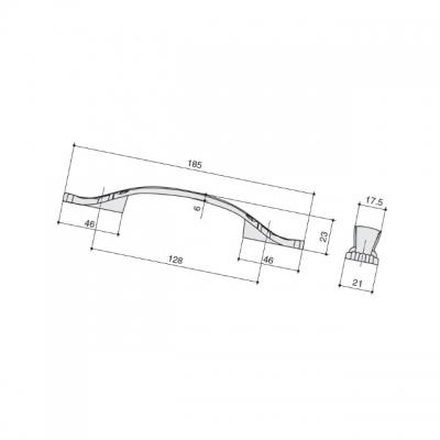 Ручка-скоба 128мм, отделка слоновая кость + золото M167.128.white+gold