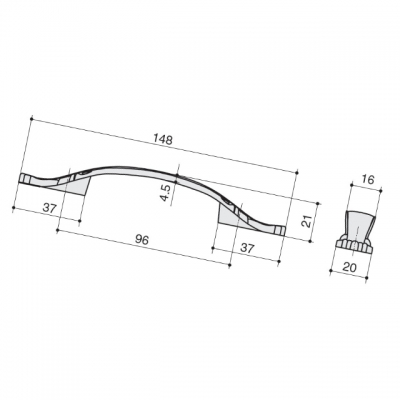 Ручка-скоба 96мм, отделка бронза глянец M167.96.SAB