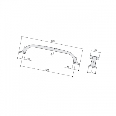 Ручка-скоба 128мм, отделка серебро старое M274.128.RAS