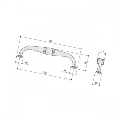Ручка-скоба 128мм, отделка серебро старое M278.128.RAS