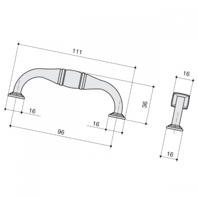 Ручка-скоба 96мм, отделка серебро старое M278.96.RAS