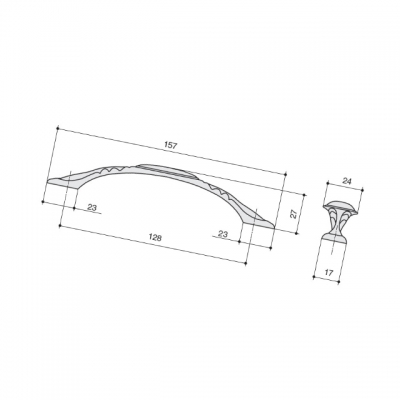 Ручка-скоба 128мм, отделка кофе M302.128.COF