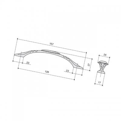 Ручка-скоба 128мм, отделка серебро старое M302.128.RAS