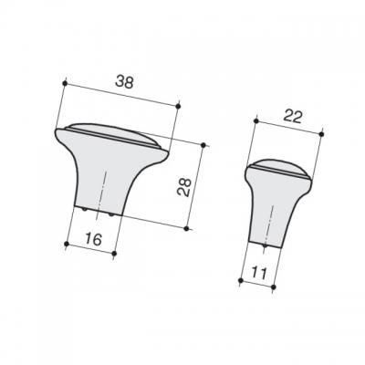 Ручка-кнопка, отделка серебро старое M302.K.RAS