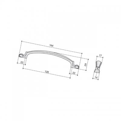 Ручка-скоба 128мм, отделка бронза матовая M308.128.BAB