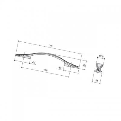 Ручка-скоба 128мм, отделка бронза глянец M311.128.SAB