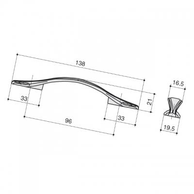 Ручка-скоба 96мм, отделка слоновая кость + золото M311.96.white+gold